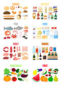 Big set of different food. Flour product, grocery, fish and sea food, milk and eggs, meat, drinks and alcohol, fruit and vegetables. Cartoon vector illustration.