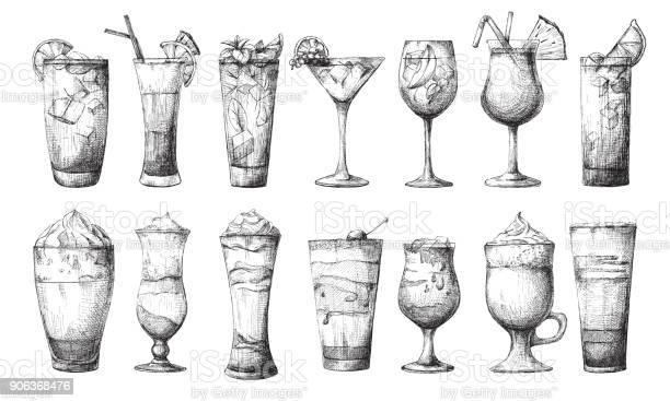 Big set of different glasses different cocktails vector illustration vector id906368476?b=1&k=6&m=906368476&s=612x612&h=coe8xe3fq0dx6zfldikql70mi5bgopdsflu rashgdi=