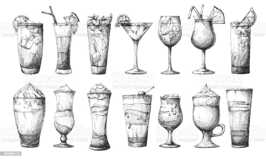Big set of different glasses, different cocktails. Vector illustration of a sketch style. vector art illustration