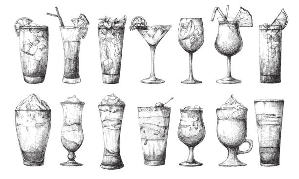 big set of different glasses, different cocktails. vector illustration of a sketch style. - refreshment stock illustrations, clip art, cartoons, & icons