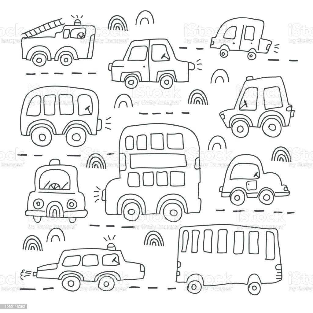 Farkli Elle Cizilmis Oyuncak Arabalar Buyuk Kumesi Stok Vektor
