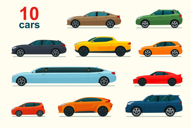 Big set of different models of cars. Vector flat style illustration. Big set of different models of cars. Vector flat style illustration. land vehicle stock illustrations