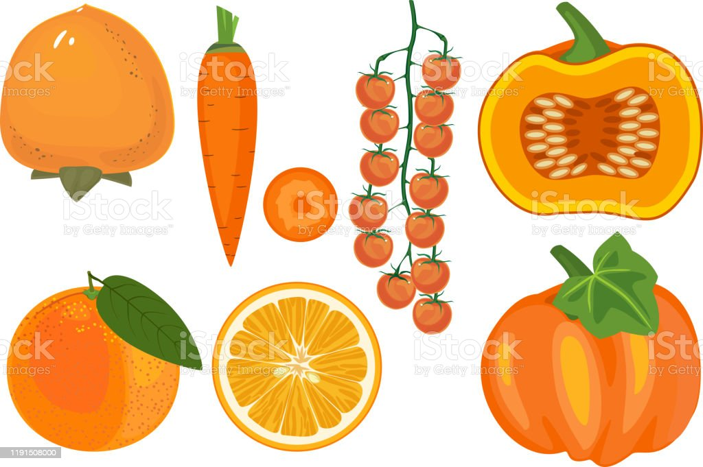 Big Set Of Different Orange Color Fruits And Vegetables Isolated On White Background Stock Illustration Download Image Now Istock