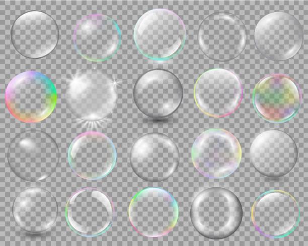 duży zestaw różnych sfer z odblaskami i podświetleniami - bańka stock illustrations