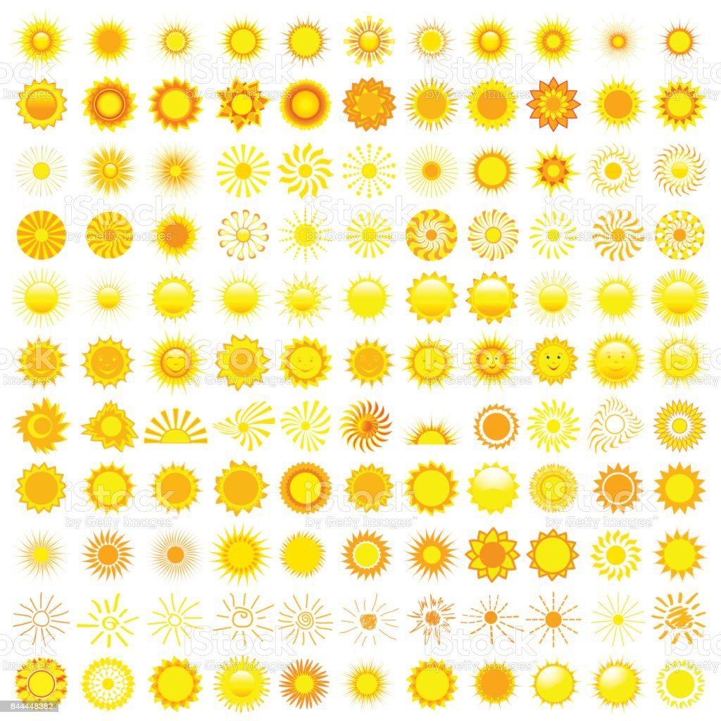 Big set of different sun over white vector art illustration
