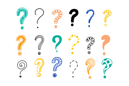 Big set of doodle drawings of question marks.