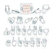 Big set of doodle hands showing different signs