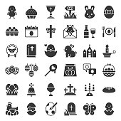 Big set of easter bunny, egg hunt and spring icon set, solid style