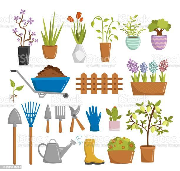 Big set of farm gardening tools cartoon elements vector illustration vector id1080814690?b=1&k=6&m=1080814690&s=612x612&h=y9i73ilqx00qeaqqbbuim1 6uopnxtkmtnvqpn2kx8a=