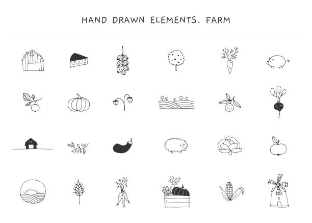 Big set of farm label elements. Vector hand drawn objects. Big set of farm label elements. Farm and organic food theme. Isolated symbols for business branding and identity, for farmers markets, berry farms, fairs, and grocery stores. farmers market illustrations stock illustrations