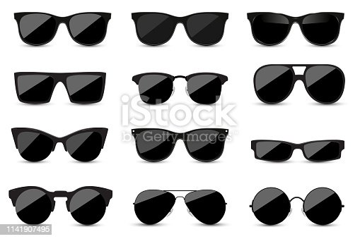 Big set of fashionable black sunglasses on white background. Black glasses isolated with shadow for your design. Vector illustration.