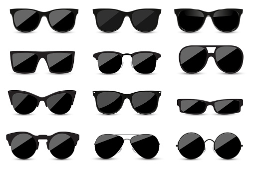 Big set of fashionable black sunglasses on white background. Black glasses isolated with shadow for your design.
