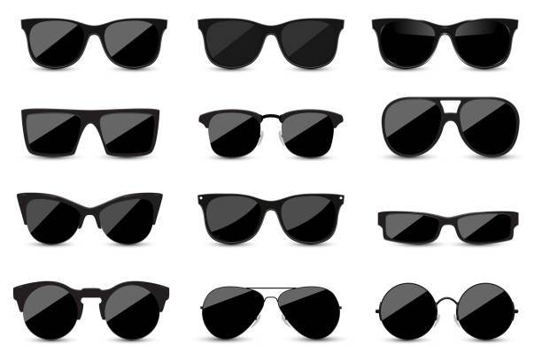 Big set of fashionable black sunglasses on white background. Black glasses isolated with shadow for your design. Big set of fashionable black sunglasses on white background. Black glasses isolated with shadow for your design. Vector illustration. カラフル stock illustrations