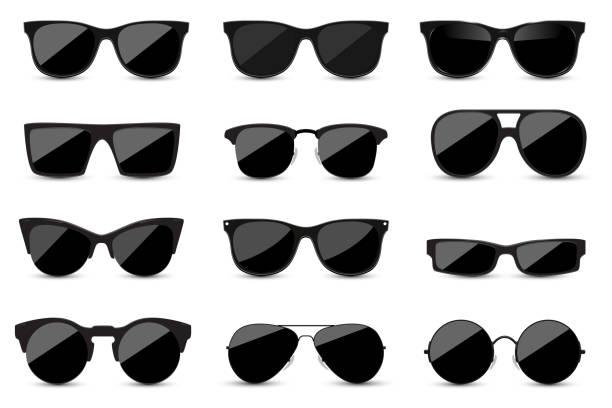 흰색 바탕에 유행 검은 색 선글라스의 큰 세트. 디자인에 대 한 그림자와 고립 된 검은 안경. - 선글라스 stock illustrations
