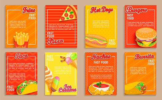 Big set of fast food shop flyers,banners.