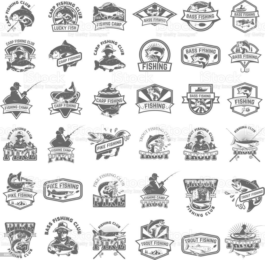 Big set of fishing icons. Carp fishing, trout fishing, bass fishing, pike fishing. Design elements for label, emblem, sign. Vector illustration. vector art illustration