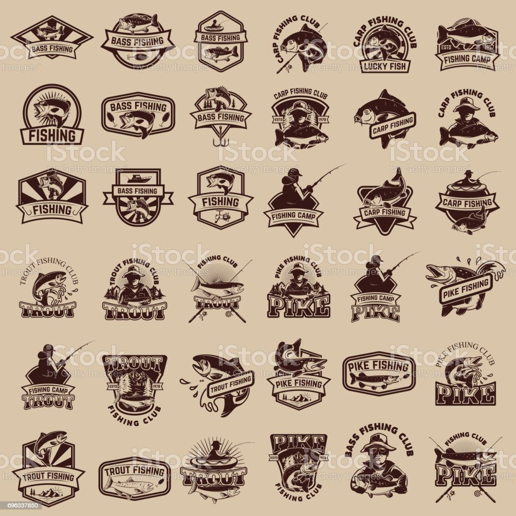 Big set of fishing icons. Carp fishing, trout fishing, bass fishing, pike fishing. Design elements for  label, emblem, sign. Vector illustration. vector art illustration