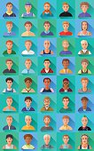 Big set of flat icons of various male characters