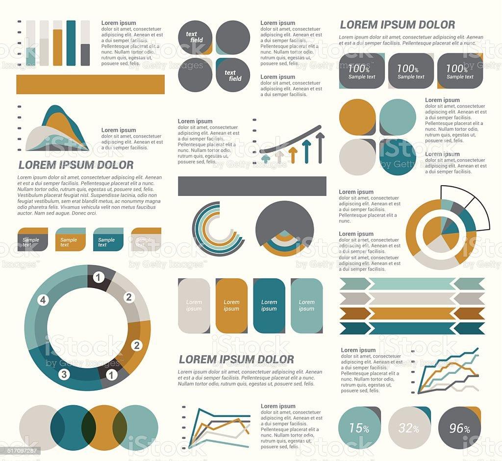 Big set of flat infographic elements. Layout template. Vector. vector art illustration
