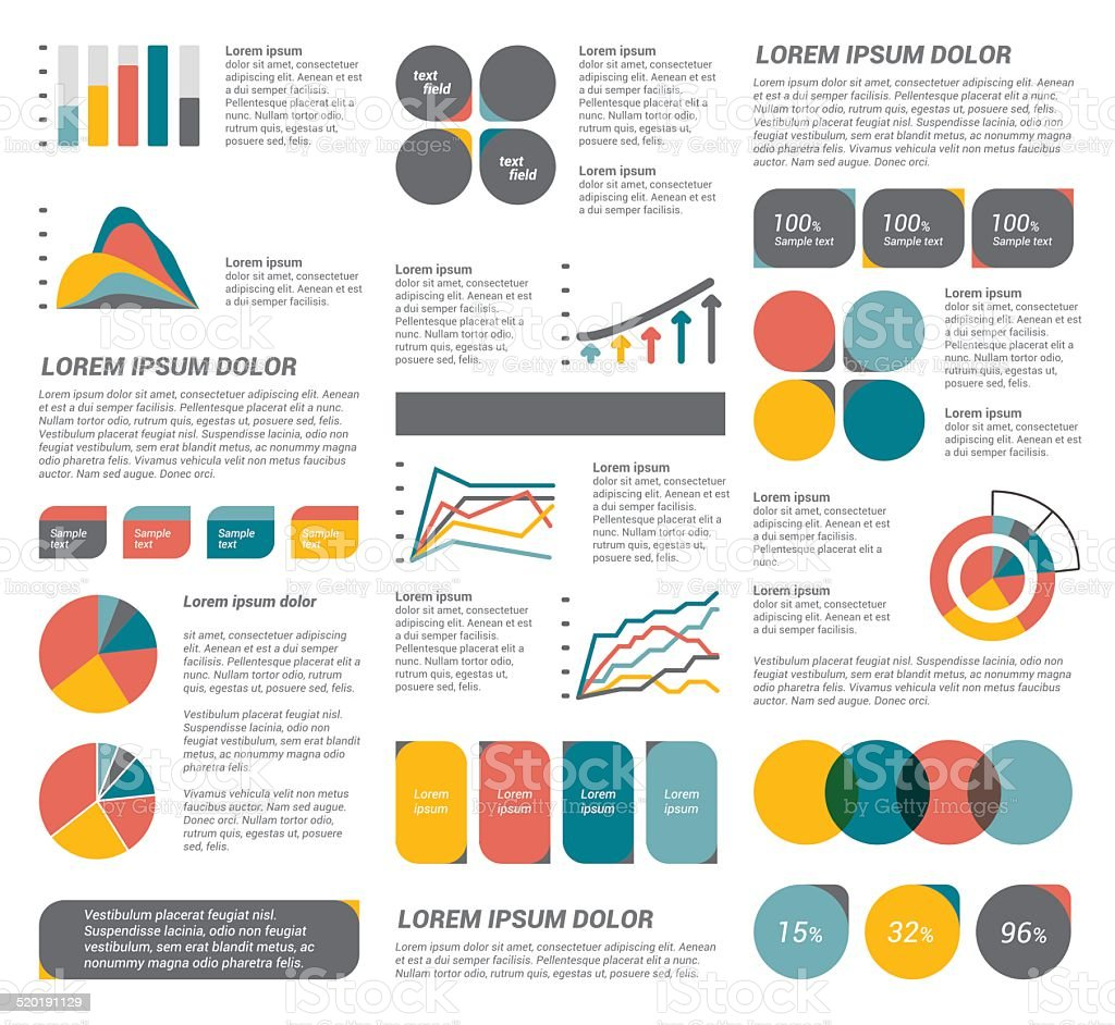 Big set of flat infographic elements. vector art illustration