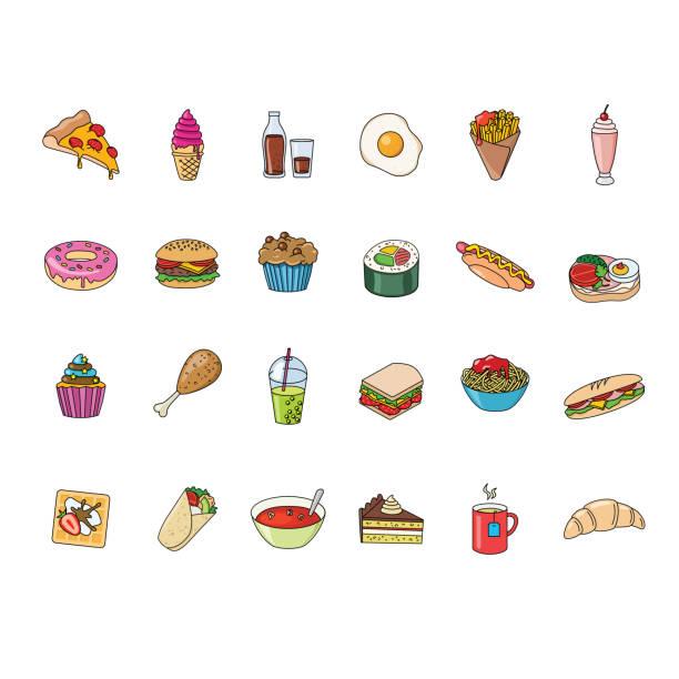 big set of food and beverages icons vector art illustration
