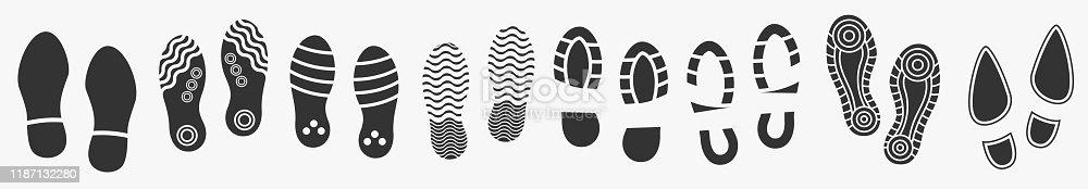Big set of Footprints silhouette isolated on white. Vector illustration