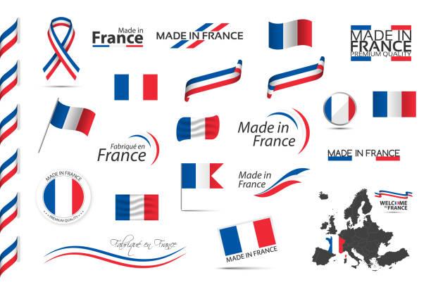 duży zestaw francuskich wstążek, symboli, ikon i flag izolowanych na białym tle, made in france, witamy we francji, najwyższej jakości, francuski tricolor, zestaw dla infografik i szablonów - francja stock illustrations