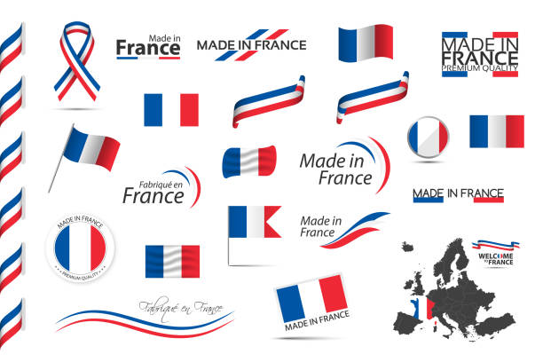 ilustrações de stock, clip art, desenhos animados e ícones de big set of french ribbons, symbols, icons and flags isolated on a white background, made in france, welcome to france, premium quality, french tricolor, set for your infographics and templates - frança