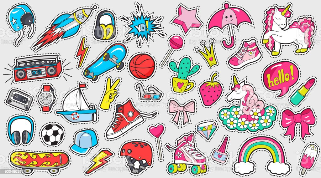 Big set of girl's and boy's colored stickers on white vector art illustration