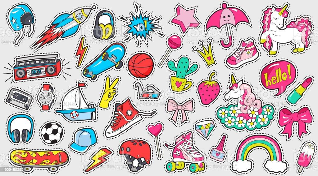 Gran conjunto de pegatinas de colores de niña y de niño en blanco - ilustración de arte vectorial