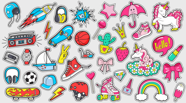big set of girl's and boy's colored stickers on white - shoes fashion stock illustrations, clip art, cartoons, & icons