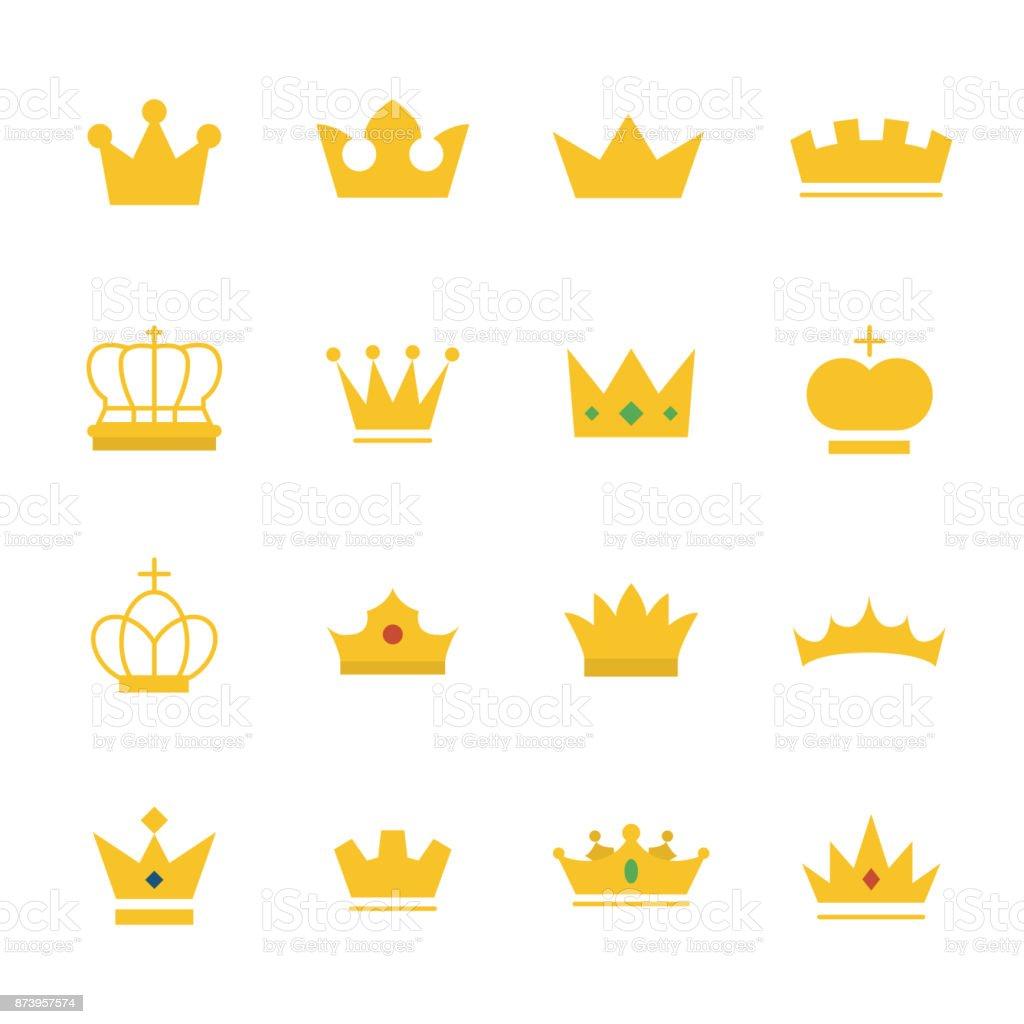 Grand ensemble de couronne d'or sur le style de plat moderne. - clipart vectoriel de Armoiries libre de droits