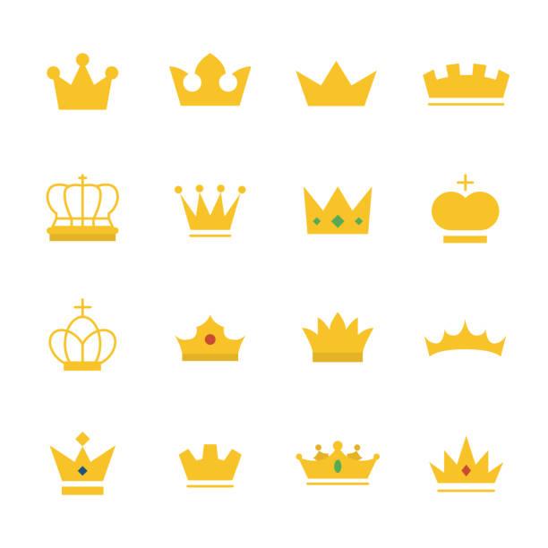 illustrations, cliparts, dessins animés et icônes de grand ensemble de couronne d'or sur le style de plat moderne. - couronne reine