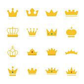Big set of gold crown on modern flat style.