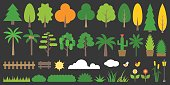 Big set of graphic info element of forest