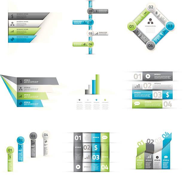 stockillustraties, clipart, cartoons en iconen met big set of green and blue infographic option elements vector - wat