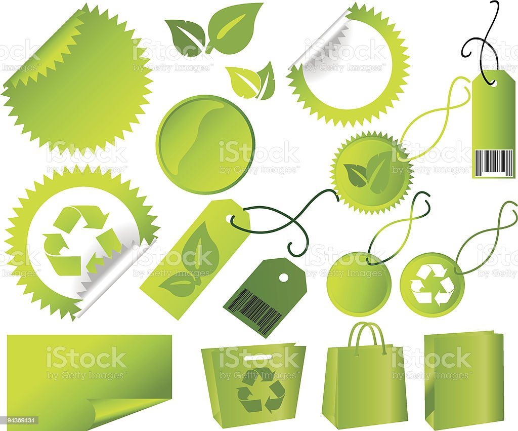 Big Set of green environmental icons royalty-free stock vector art