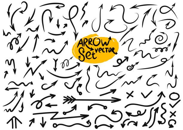 illustrazioni stock, clip art, cartoni animati e icone di tendenza di big set of grunge sketch handmade watercolor doodle arrow. vector illustration. isolated on white background - sfondo scarabocchi e fatti a mano