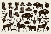 Bison. Vector illustration. Black and white vector objects.