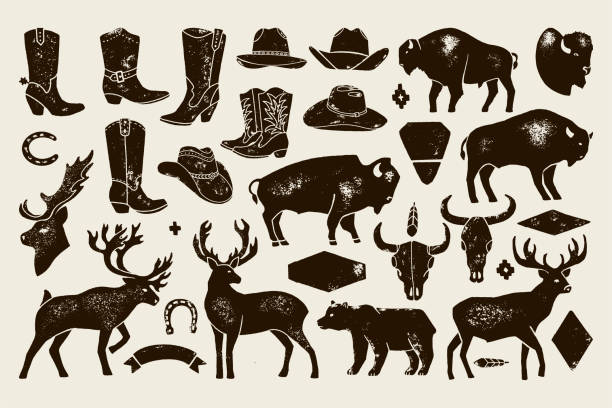 Big set of Hand Draw vintage native American signs from Deer, Buffalo, Cowboy Boots and Hats, cow Skulls, bear. Big set of Hand Draw vintage native American signs from Deer, Buffalo, Cowboy Boots and Hats, cow Skulls, bear. Vector Badge Silhouette for creating Logos, Lettering, Posters and Postcards. rancher illustrations stock illustrations
