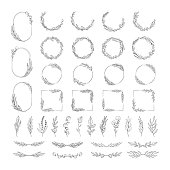 Big set of  hand drawn botanical round, oval and rectangular frames, floral dividers and branches. Vector isolated elements. Wedding flourish laurel wreaths for invitation card.