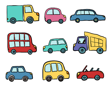 gro e reihe von handgezeichneten niedlichen cartoon autos. Black Bedroom Furniture Sets. Home Design Ideas