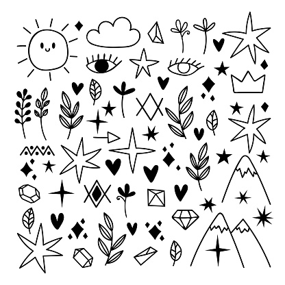 Big set of hand drawn design elements. Doodle style. Sketch of star, heart, mountain, leaf. Black tattoo