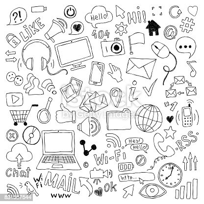 big set of hand drawn doodle cartoon objects and symbols on the Social Media theme
