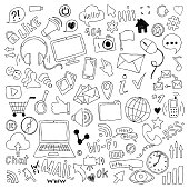 big set of hand drawn doodle cartoon objects and symbols on the Social Media theme.