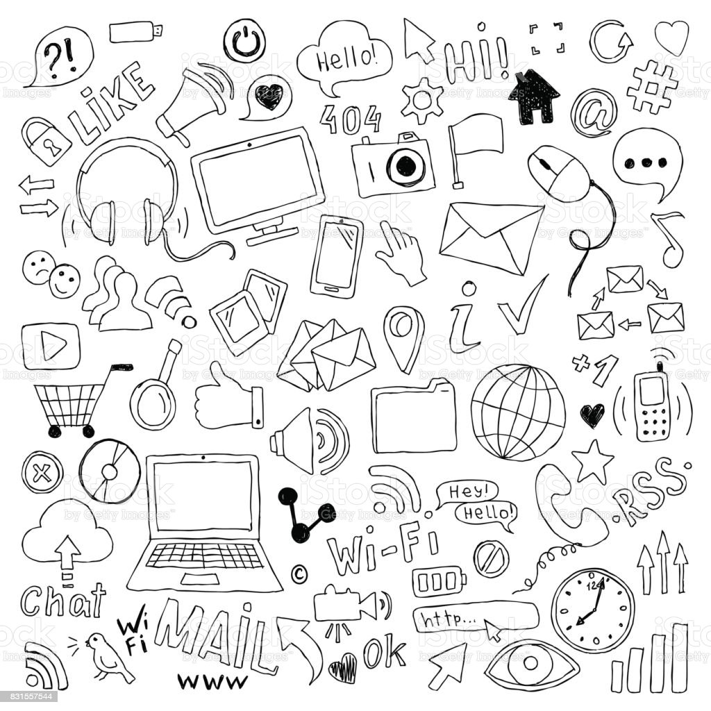 big set of hand drawn doodle cartoon objects and symbols on the Social Media theme. vector art illustration
