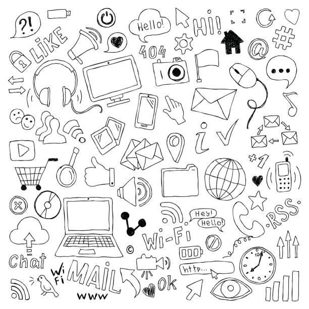 große reihe von hand gezeichnet doodle cartoon objekte und symbole zum thema social media. - tierfotografie stock-grafiken, -clipart, -cartoons und -symbole
