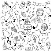 big set of hand drawn doodle cartoon objects and symbols on the birthday party. design holiday greeting card and invitation of wedding, Happy mother day, birthday, Valentine s day and holidays