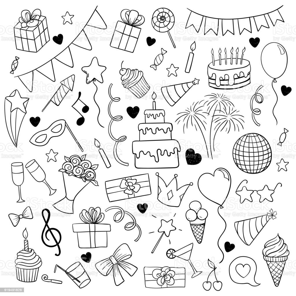 big set of hand drawn doodle cartoon objects and symbols on the birthday party. design holiday greeting card and invitation of wedding, Happy mother day, birthday, Valentine s day and holidays. vector art illustration