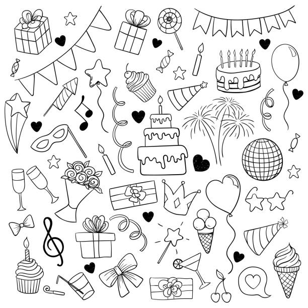 big set of hand drawn doodle cartoon objects and symbols on the birthday party. design holiday greeting card and invitation of wedding, happy mother day, birthday, valentine s day and holidays. - happy birthday cake stock illustrations, clip art, cartoons, & icons